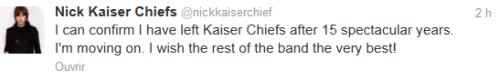 Kaiser Chiefs Nick Hodgson quits