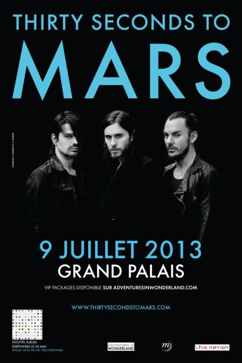 30 Seconds To Mars concert au Grand Palais Paris Flyer
