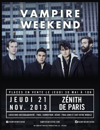 Vampire Weekend au Zénith de Paris Affiche